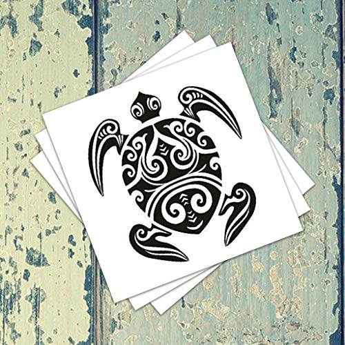 Tribal Turtle Temporary Tattoos (3-Pack) | Skin Safe | MADE IN THE USA| Removable -