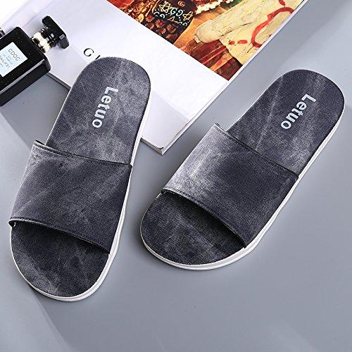 Y-Hui parejas zapatillas de baño verano fondo blando engrosamiento Home zapatillas zapatillas, casa baño fresco verano zapatillas Mens money - Black