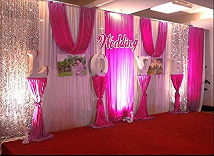Amazon lb wedding and celebration stage decorations backdrop lb wedding and celebration stage decorations backdrop party drapes with swag silk fabric curtain 3x6m junglespirit Gallery