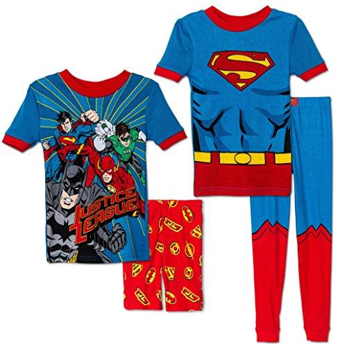 Komar Kids Boys 4 Piece Cotton Pajamas Sleepwear Set with Shorts and Pants, Superman,7
