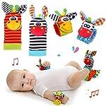 Baby Rattle Neonato Sonagli Calzini da Polso a Sonaglio per Bambini, Simpatici Animaletti Developmental Soft Toys… Abbigliamento Baby Rattle 9