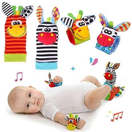 Baby Rattle Neonato Sonagli Calzini da Polso a Sonaglio per Bambini, Simpatici Animaletti Developmental Soft Toys… Abbigliamento Baby Rattle 2