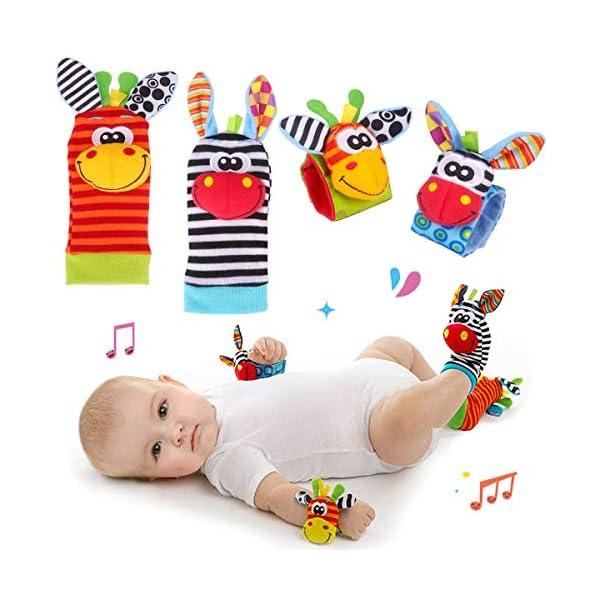 Baby Rattle Neonato Sonagli Calzini da Polso a Sonaglio per Bambini, Simpatici Animaletti Developmental Soft Toys… 1