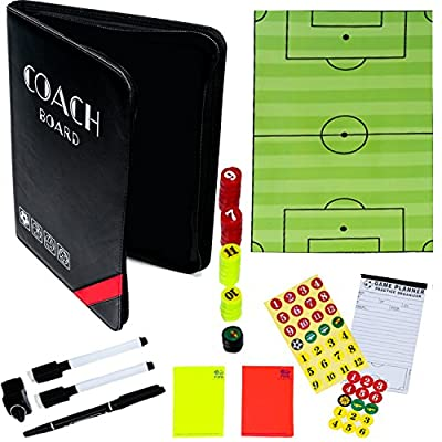 THE ULTIMATE SOCCER COACH GIFT - Reversible Soccer + Volleyball + Basketball + Handball Clipboard with Magnetic Board, Note Pad, Dry Erase Board, Whistle and more!