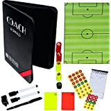 Dry-Erase Soccer Coaching Clipboard - Coach's Equipment that Includes Magnetic Board, Scorebook, Playbook, Whistle, Cards and Extras for Strategist, Techniques, and Plays - Multi-Sport