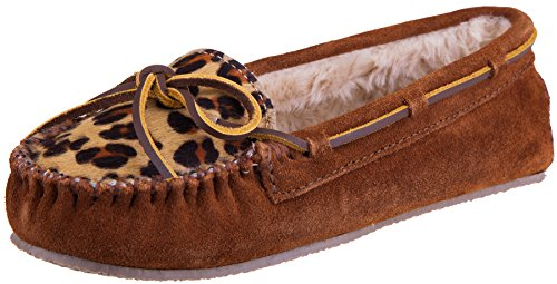 Minnetonka Women's Leopard Cally Slipper Moccasin (8 B(M) US, Leopard Brown)