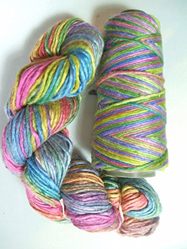 100% Pure Mulberry Duke Silk Yarn 50 gram Worsted Weight Watercolor Haze Bright DS005 - Cone or Hank (Haze Cone)
