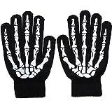 Simplicity Unisex Full Finger Skeleton Pattern Glow in the Dark Knit Gloves