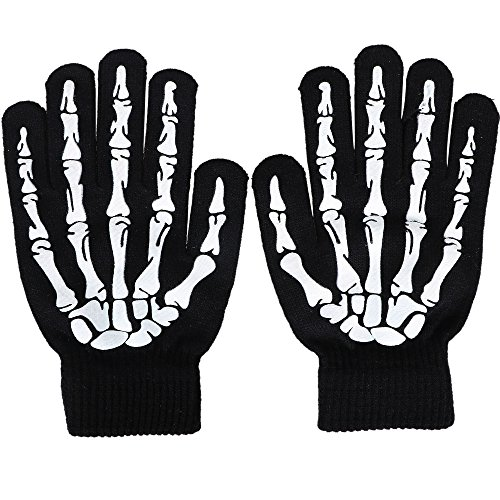 Simplicity Skeleton Gloves Glow in The Dark Halloween Costume Knit Gloves -