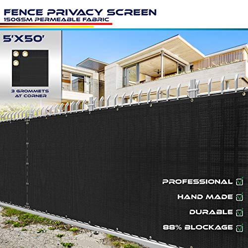 Windscreen4less Heavy Duty Privacy Screen Fence in Color Solid Black 5