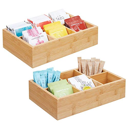 mDesign Bamboo Wood Compact Tea & Food Storage Organizer Bin Box - 6 Divided Sections - Holder for Tea Bags, Coffee, Packets, Sugar/Sweeteners and Small Packets, 2 Pack - ()
