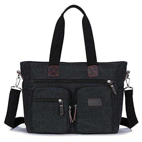 "ToLFE Women Top Handle Satchel Handbags Shoulder Bag Messenger Tote Bag Purse Crossbody Bag (Double handles with 9.8"" drop, New-Black1)"