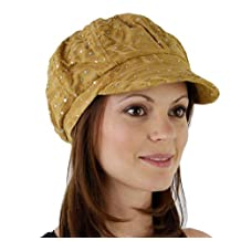 Glitter Sequin Newsboy Cap with Sparkle Flower (Gold with Flowers)