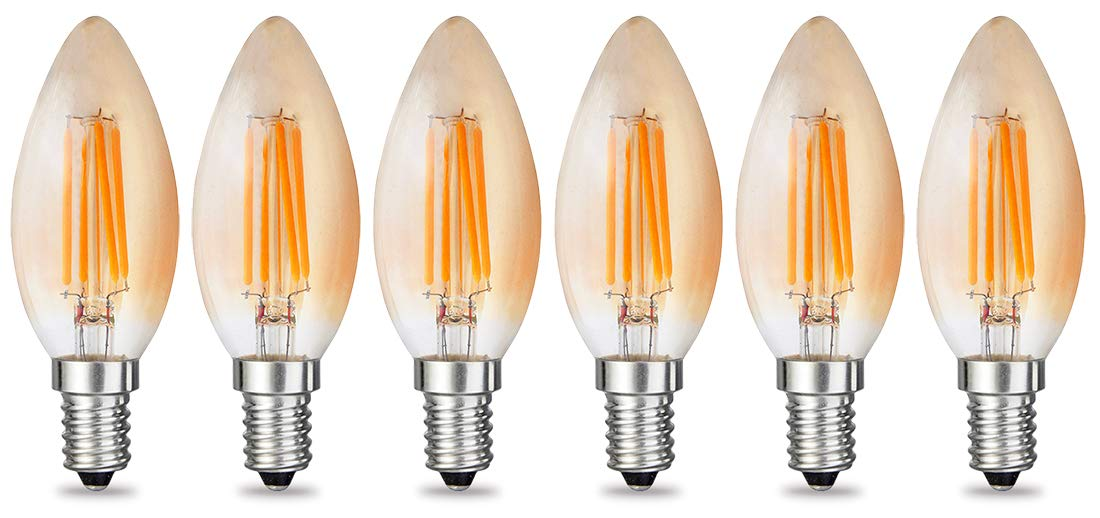 4W AC 110V 130V E14 Base Lamp iRotYi 40W Incandescent Replacement Warm White 2700-3000 Kelvin 400LM Dimmable LED Filament Amber Candle Light Bulbs 1-Pack