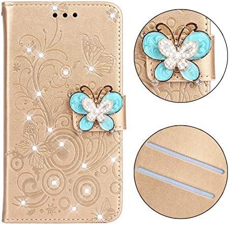 あなたの携帯電話を保護する ダイヤモンドがついた蝶愛花柄水平フリップレザーケースギャラクシーA6(2018)用、ホルダー&カードスロット&財布&ストラップ付き (色 : Butterfly gold)
