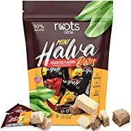 Roots Circle Mini Halva Candy Sesame Tahini Bars | Bulk Re-sealable Bag | Made of 50% Sesame | Cocoa Bean & Vanilla Flavors | 42 Individually Wrapped Halvah Pieces | Kosher, Gluten-Free & Vegan
