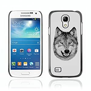Designer Depo Hard Protection Case for Samsung Galaxy S4 Mini / Laughing Wolf Cool B/W