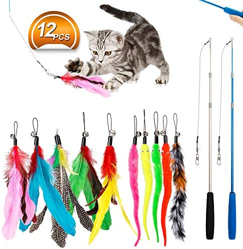 JIARON Feather Teaser Cat Toy, 2PCS Retractable Cat Wand Toys and 10PCS Replacement Teaser with Bell Refills, Interactive Catcher Teaser and Funny Exercise for Kitten or Cats. 2