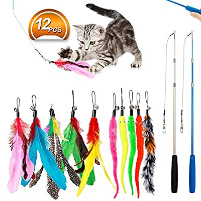 Kitten Toys JIARON Feather Teaser Cat Toy, 2PCS Retractable Cat Wand Toys and 10PCS Replacement Teaser with Bell [tag]