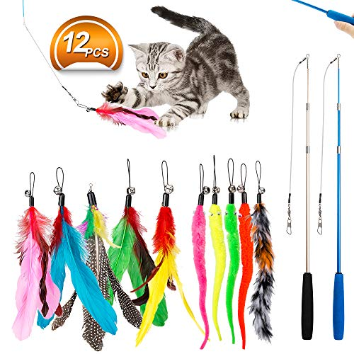 - JIARON Feather Teaser Cat Toy, 2PCS Retractable Cat Wand Toys and 10PCS Replacement Teaser with Bell Refills, Interactive Catcher Teaser and Funny Exercise for Kitten or Cats.