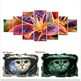 Startonight Large Canvas Wall Art Bundle Multicolored Lily Flower, Big Framed Painting, Free Gift 3D Poster Cat for Kids