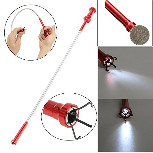 HARDK-Claw Magnetic Pick-up Tool 4 Claws with Bright LED light Flexible Spring Magnet Grab Grabber Fingers Prongs for garbage pick up,arm extension