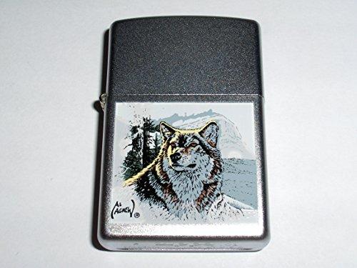 Zippo Wolf By Artist Al Agnew Satin Chrome Lighter