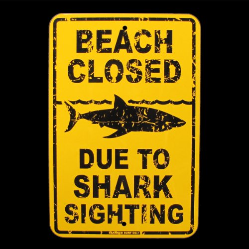 Beach Closed Due to Shark Sighting (Shark Sign)