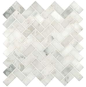 Greyish White Herringbone Pattern Honed Marble Mesh-Mounted Mosaic Tile (full sheet)