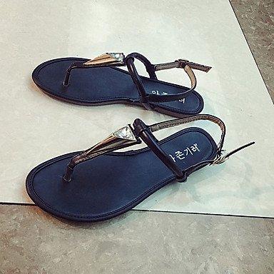 LvYuan Tacón Plano-Confort-Sandalias-Vestido Informal-PU-Negro Plata Oro Gold
