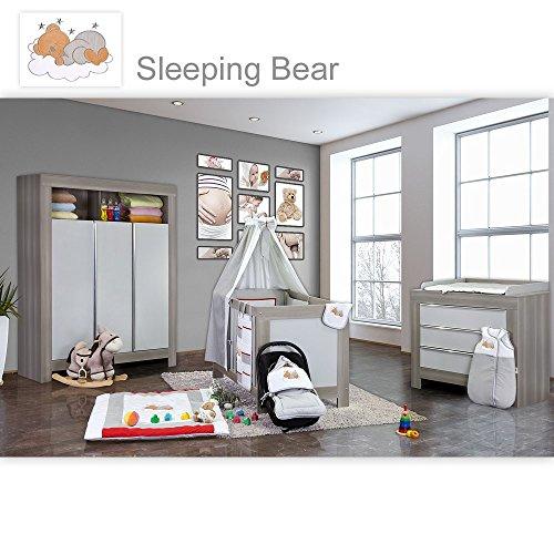 Babyzimmer Felix in akaziengrau 21 tlg. mit 3 türigem Kl. Sleeping Bear grau