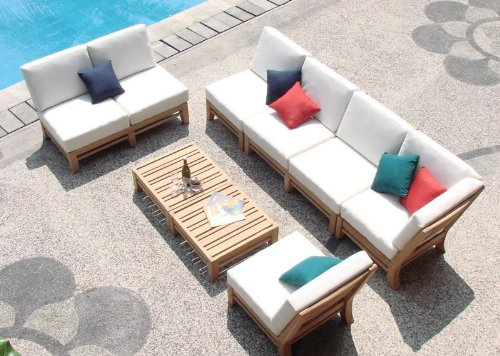New-Luxurious-7-Piece-Teak-Sectional-Sofa-Set-2-Love-Seats-2-Lounge-Chair-1-Corner-Pc-1-Ottoman-1-Side-Table-RM1-Furniture-Set-Cushions-Set-Both-Items-Sold-Separately-Choose-correct-option-Delmar-coll