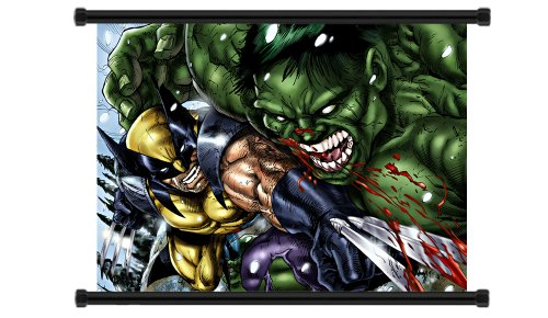 X-Men Wolverine vs Incredible Hulk Comic Fabric Wall Scroll