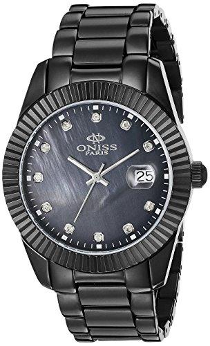 Oniss Swiss Movement - Oniss Paris Women's ON6019N-LIPB Galaxy-Z2 Collection Analog Display Swiss Quartz Black Watch