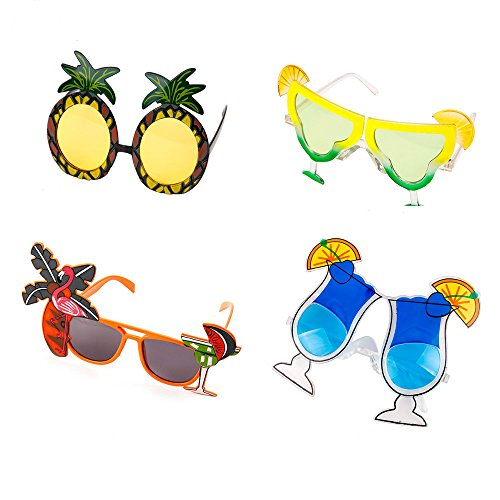 Yalulu 4 Pairs Luau Party Supply Sunglasses Palm Tree Hawaii Themed Sunglasses Beach Photo Booth Props