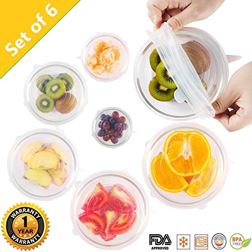 Silicone Stretch Lids Huggers Covers reusable for food with IMPROVED GRIP SEALER BPA free, 6 Pack of Various Sizes by (Platter Casserole Dish Cover)