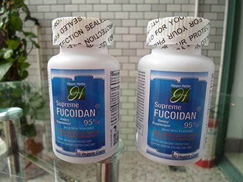 Hippo Herbs Supreme Fucoidan 95% Supplement with Mozuku Extract 289.5mg Agaricus Blazei 150mg Cordyceps Sinensis 50mg (60 Veggie Caps) Super Antioxidants Support Immune System Health