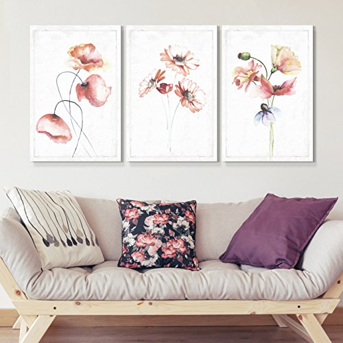wall26 - 3 Panel Canvas Wall Art - Drawn Watercolor Poppys Wildflowers Artwork - Giclee Print Gallery Wrap Modern Home Decor Ready to Hang - 16