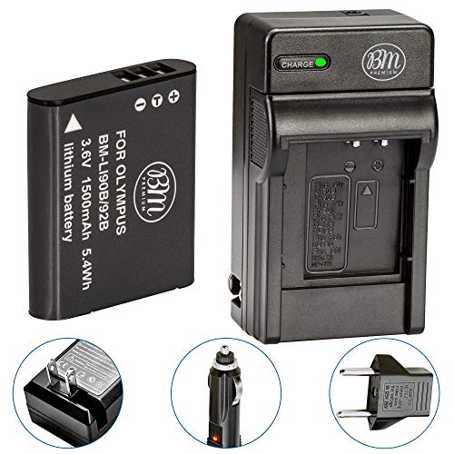 BM LI-92B, LI-90B Battery and Charger for Olympus Tough TG-6, TG-5, TG-Tracker, SH-1, SH-2, SP-100 IHS, Tough TG-1 iHS, Tough TG-2 iHS, Tough TG-3, Tough TG-4, SH-50 iHS, SH-60, XZ-2 iHS Cameras