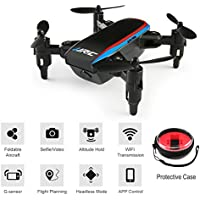 BTG JJRC H53W Shadow Foldable Mini Pocket Quadcopter - WIFI FPV Selfie Drone with HD Camera, Sound Mode, APP Control, Altitude Hold, Headless Mode, One Key Return, G-sensor (H53W Drone (Black))