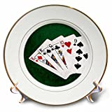3dRose Alexis Photo-Art - Poker Hands - Poker Hands One Pair, King - 8 inch Porcelain Plate (cp_270574_1)