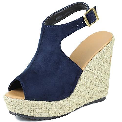 Vimisaoi Women's Summer Platform Wedge High Heels Espadrille Sandals, Open Toe Ankle Strap Hasp Handmade Slingback Boho Dress Shoes Brown