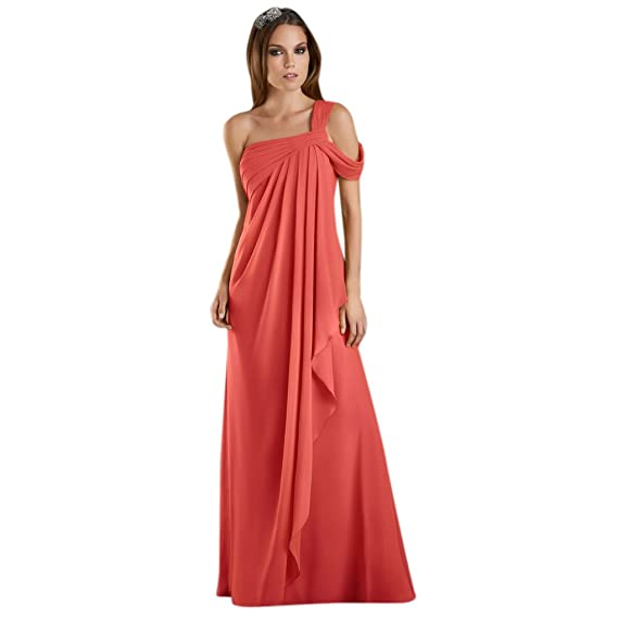 Dearta Womens A-Line One-Shoulder Floor-Length Evening Dress UK 6 Coral