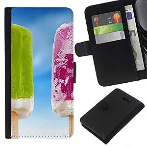 WINCASE Cuadro Funda Voltear Cuero Ranura Tarjetas TPU Carcasas Protectora Cover Case Para Sony Xperia M2 - cielo fruta congelada helados verano