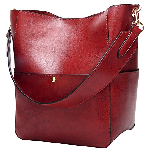 (Molodo Womens Satchel Hobo Stylish Top Handle Tote PU Leather Handbag Shoulder Purse,Wine Red,X-Large)