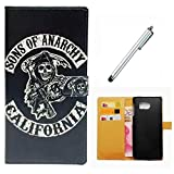 Huawei Mate 9 Case Wakso Flip PU Leather Wallet Case with Stand Function Cover Anti-Shock Protective Case - Black Skull