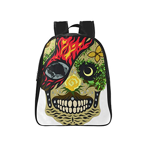 InterestPrint Earth Sugar Skull PU Leather Custom Backpac...
