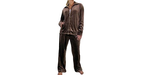 42dfdba0acd ICE (6475-8) Plus Size Full Figure Womens Luxury Velour Tracksuit Chocolate  Brown (6XL)