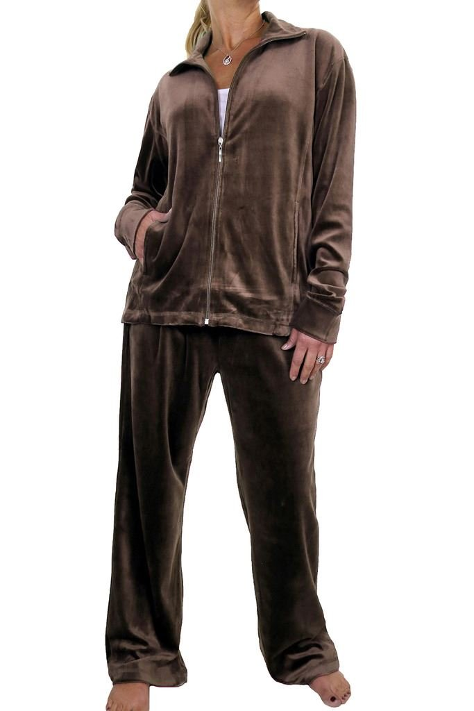 icecoolfashion Ice (6475-8) Plus Size Full Figure Womens Luxury Velour Tracksuit Chocolate Brown (6XL)