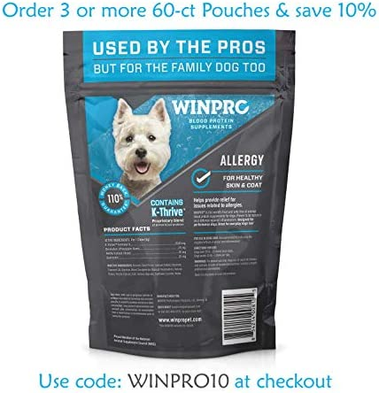 WINPRO All-Natural Allergy Relief Soft Chews for Dogs with Itchy, Scratchy Skin | Blood Protein Supplement for Healthy Skin and Coat, Made in USA, Grain Free, Member of NASC 3